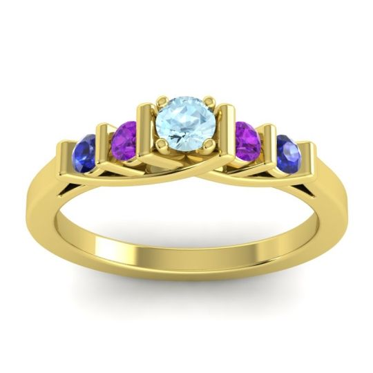 Aquamarine Petite Sapallava Ring with Amethyst and Blue Sapphire in 18k Yellow Gold