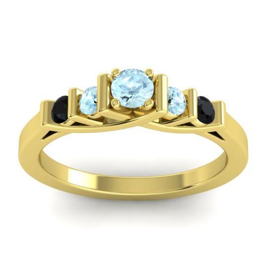 Aquamarine Petite Sapallava Ring with Black Onyx in 14k Yellow Gold