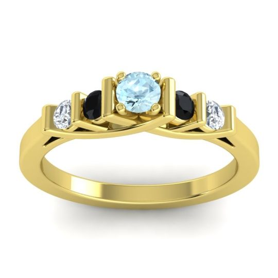 Aquamarine Petite Sapallava Ring with Black Onyx and Diamond in 14k Yellow Gold