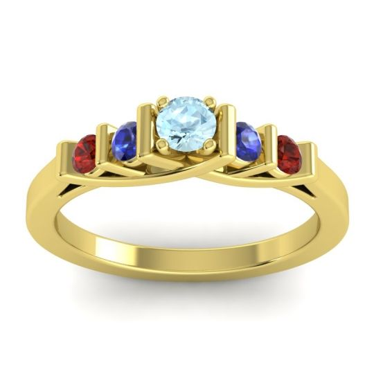 Aquamarine Petite Sapallava Ring with Blue Sapphire and Garnet in 18k Yellow Gold