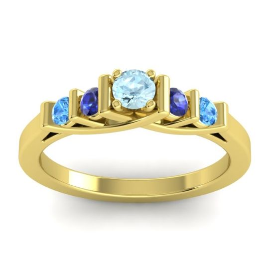 Aquamarine Petite Sapallava Ring with Blue Sapphire and Swiss Blue Topaz in 14k Yellow Gold