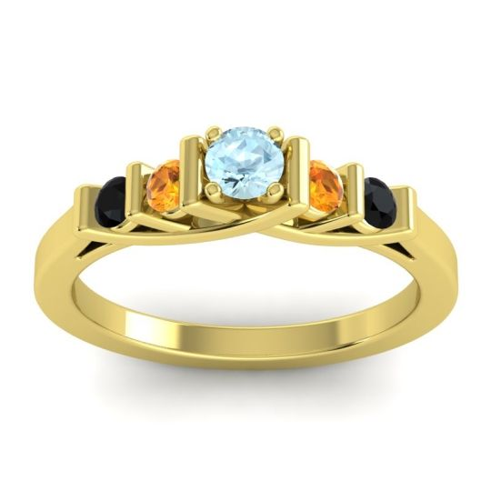 Aquamarine Petite Sapallava Ring with Citrine and Black Onyx in 18k Yellow Gold