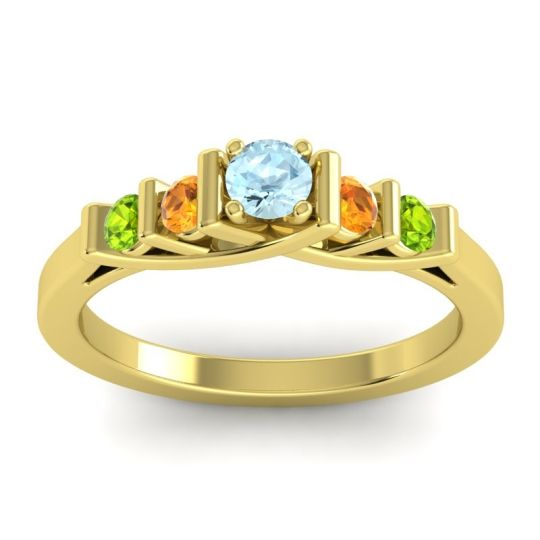 Aquamarine Petite Sapallava Ring with Citrine and Peridot in 18k Yellow Gold