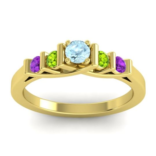 Aquamarine Petite Sapallava Ring with Peridot and Amethyst in 18k Yellow Gold