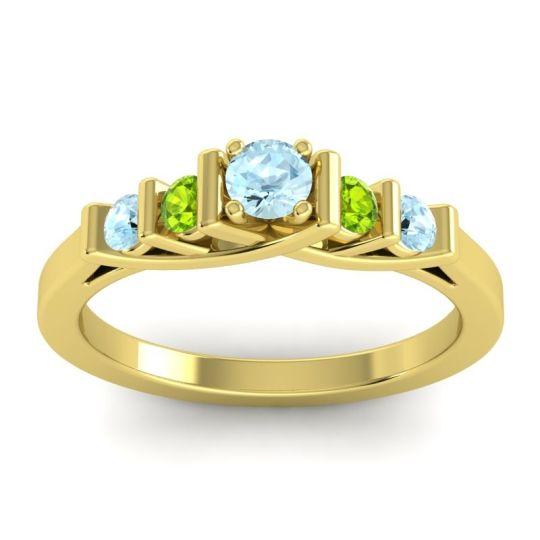 Aquamarine Petite Sapallava Ring with Peridot in 14k Yellow Gold