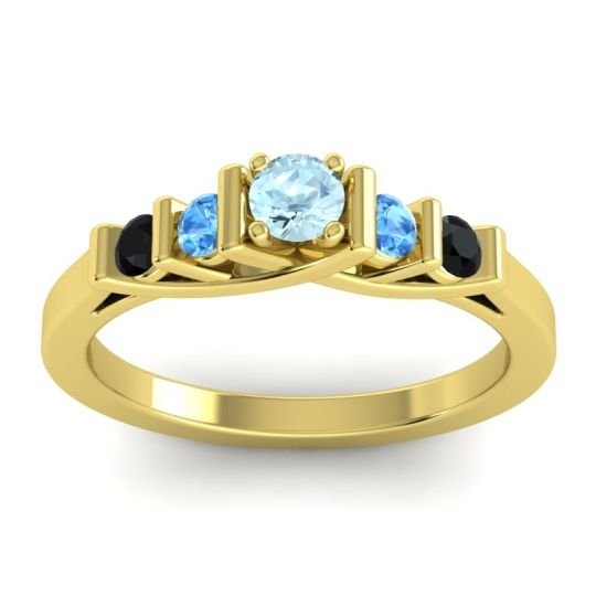 Aquamarine Petite Sapallava Ring with Swiss Blue Topaz and Black Onyx in 18k Yellow Gold