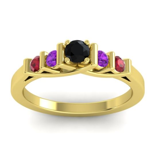 Black Onyx Petite Sapallava Ring with Amethyst and Ruby in 14k Yellow Gold
