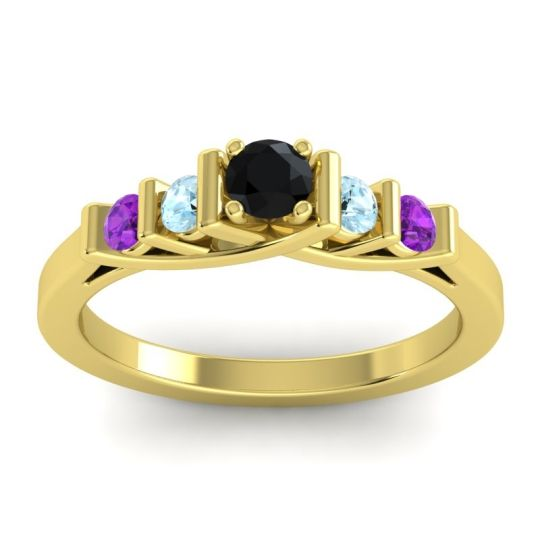 Black Onyx Petite Sapallava Ring with Aquamarine and Amethyst in 18k Yellow Gold