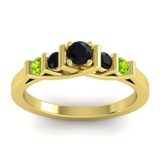 Black Onyx Petite Sapallava Ring with Peridot in 14k Yellow Gold