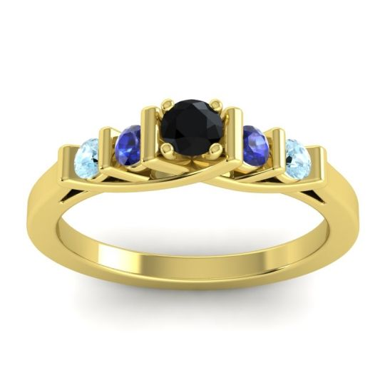 Black Onyx Petite Sapallava Ring with Blue Sapphire and Aquamarine in 14k Yellow Gold