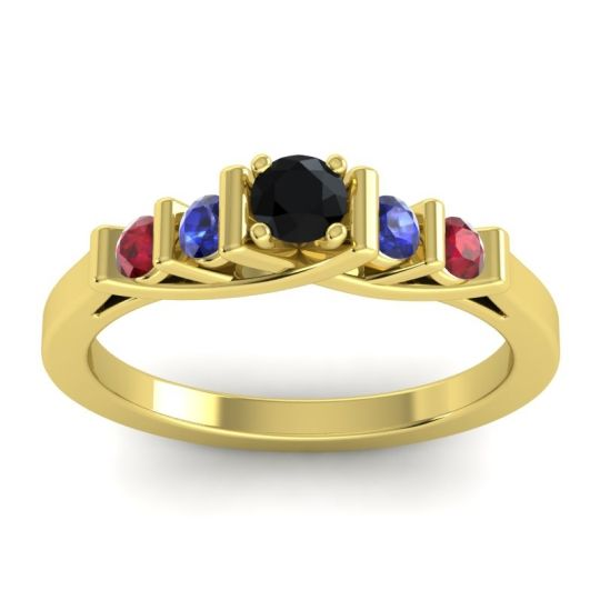 Black Onyx Petite Sapallava Ring with Blue Sapphire and Ruby in 14k Yellow Gold