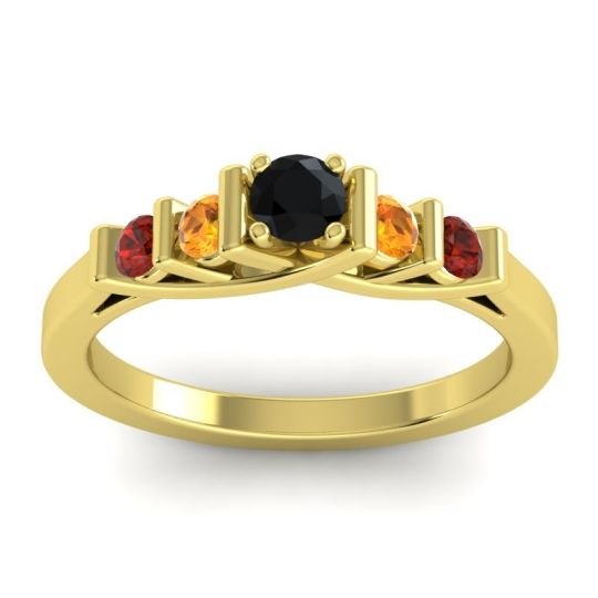 Black Onyx Petite Sapallava Ring with Citrine and Garnet in 14k Yellow Gold