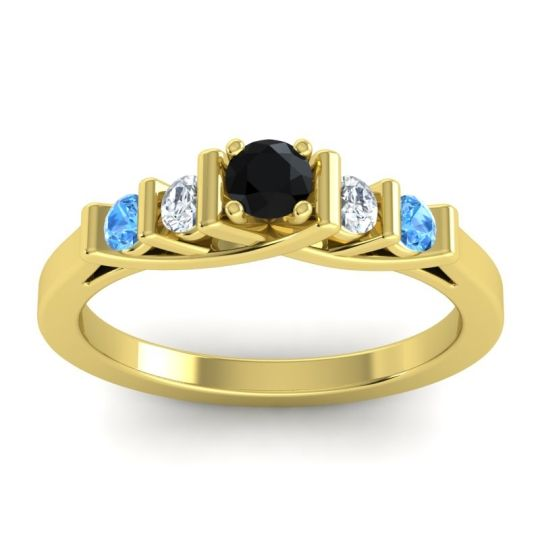 Black Onyx Petite Sapallava Ring with Diamond and Swiss Blue Topaz in 14k Yellow Gold
