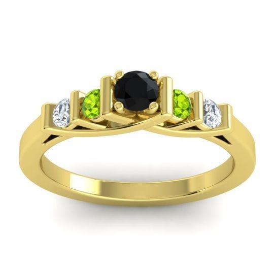 Black Onyx Petite Sapallava Ring with Peridot and Diamond in 14k Yellow Gold