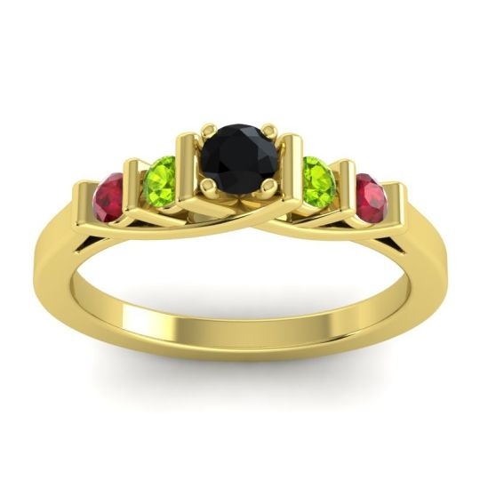 Black Onyx Petite Sapallava Ring with Peridot and Ruby in 14k Yellow Gold