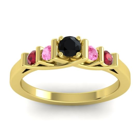 Black Onyx Petite Sapallava Ring with Pink Tourmaline and Ruby in 18k Yellow Gold