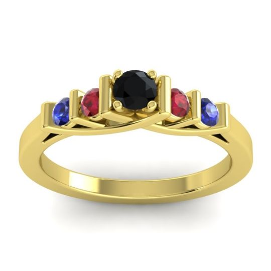 Black Onyx Petite Sapallava Ring with Ruby and Blue Sapphire in 14k Yellow Gold
