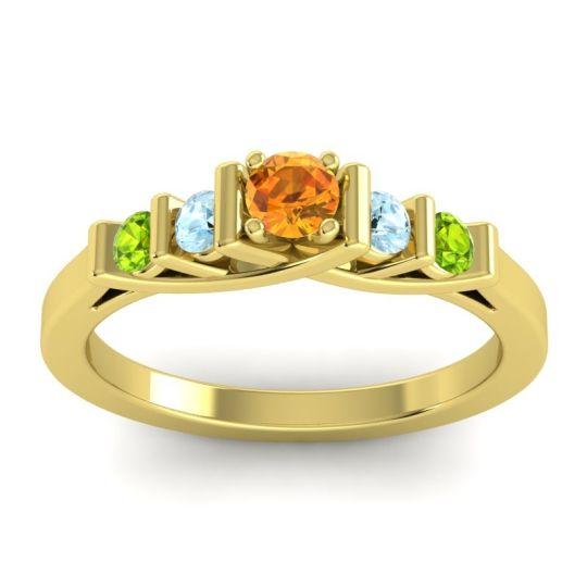 Citrine Petite Sapallava Ring with Aquamarine and Peridot in 14k Yellow Gold