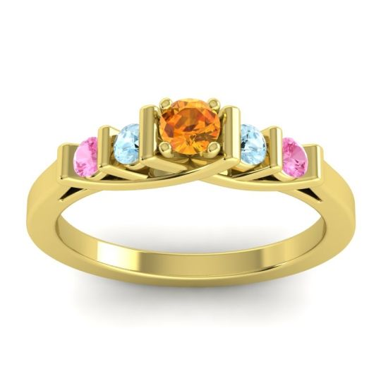Citrine Petite Sapallava Ring with Aquamarine and Pink Tourmaline in 14k Yellow Gold