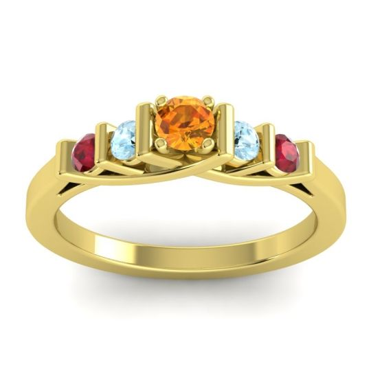 Citrine Petite Sapallava Ring with Aquamarine and Ruby in 14k Yellow Gold