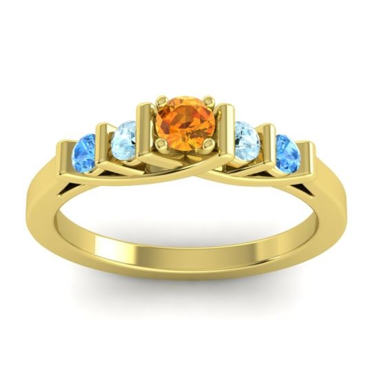 Citrine Petite Sapallava Ring with Aquamarine and Swiss Blue Topaz in 18k Yellow Gold