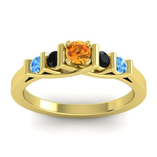 Citrine Petite Sapallava Ring with Black Onyx and Swiss Blue Topaz in 14k Yellow Gold