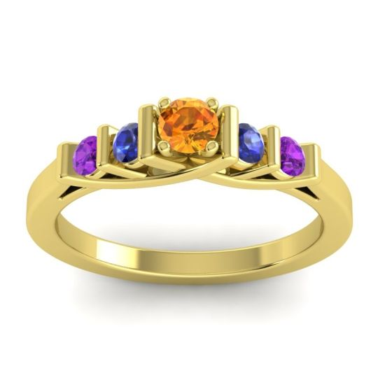 Citrine Petite Sapallava Ring with Blue Sapphire and Amethyst in 14k Yellow Gold