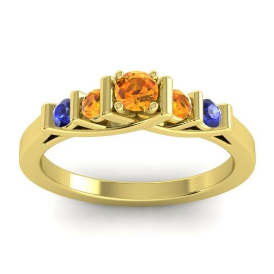 Citrine Petite Sapallava Ring with Blue Sapphire in 18k Yellow Gold