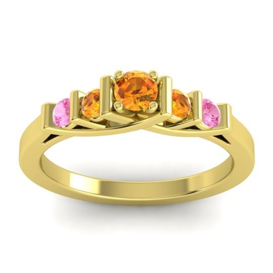 Citrine Petite Sapallava Ring with Pink Tourmaline in 18k Yellow Gold