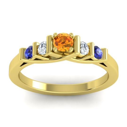 Citrine Petite Sapallava Ring with Diamond and Blue Sapphire in 14k Yellow Gold