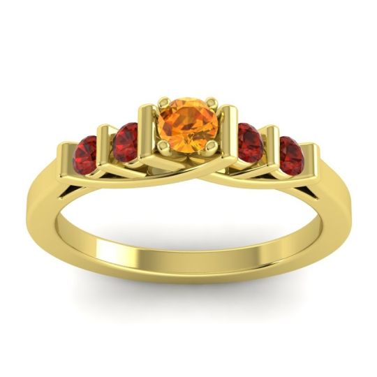 Citrine Petite Sapallava Ring with Garnet in 14k Yellow Gold