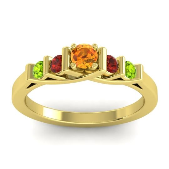 Citrine Petite Sapallava Ring with Garnet and Peridot in 14k Yellow Gold