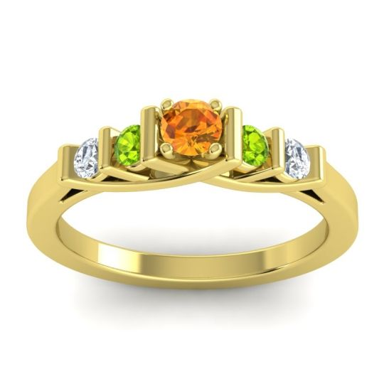 Citrine Petite Sapallava Ring with Peridot and Diamond in 18k Yellow Gold