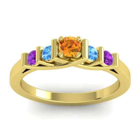 Citrine Petite Sapallava Ring with Swiss Blue Topaz and Amethyst in 18k Yellow Gold