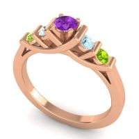 Amethyst Petite Sapallava Ring with Aquamarine and Peridot in 14K Rose Gold
