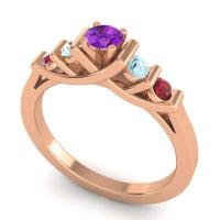 Amethyst Petite Sapallava Ring with Aquamarine and Ruby in 18K Rose Gold