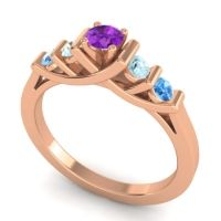Amethyst Petite Sapallava Ring with Aquamarine and Swiss Blue Topaz in 18K Rose Gold