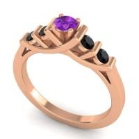 Amethyst Petite Sapallava Ring with Black Onyx in 18K Rose Gold