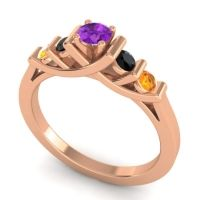 Amethyst Petite Sapallava Ring with Black Onyx and Citrine in 14K Rose Gold