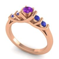 Amethyst Petite Sapallava Ring with Blue Sapphire in 14K Rose Gold