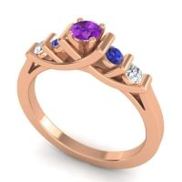 Amethyst Petite Sapallava Ring with Blue Sapphire and Diamond in 18K Rose Gold
