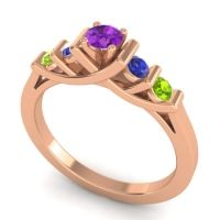Amethyst Petite Sapallava Ring with Blue Sapphire and Peridot in 14K Rose Gold