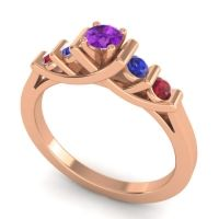 Amethyst Petite Sapallava Ring with Blue Sapphire and Ruby in 14K Rose Gold