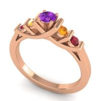 Amethyst Petite Sapallava Ring with Citrine and Ruby in 14K Rose Gold
