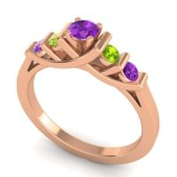 Amethyst Petite Sapallava Ring with Peridot in 18K Rose Gold