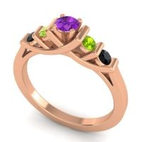 Amethyst Petite Sapallava Ring with Peridot and Black Onyx in 14K Rose Gold