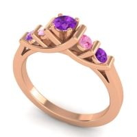Amethyst Petite Sapallava Ring with Pink Tourmaline in 18K Rose Gold