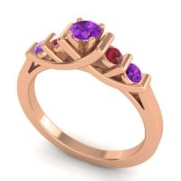 Amethyst Petite Sapallava Ring with Ruby in 18K Rose Gold