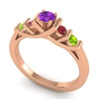 Amethyst Petite Sapallava Ring with Ruby and Peridot in 18K Rose Gold