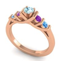Aquamarine Petite Sapallava Ring with Amethyst and Swiss Blue Topaz in 14K Rose Gold